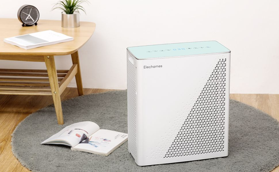 Elechomes Air Purifier With True Hepa Filter Air Quality Monitor With Dust And Smell Sensors Air Cleaner Filter For Large Room Allergies Dust Smoke Pets