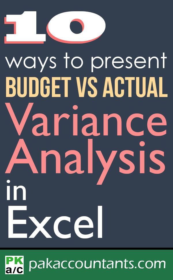 10 Ways To Present Variance Analysis Reports In Excel Microsoft
