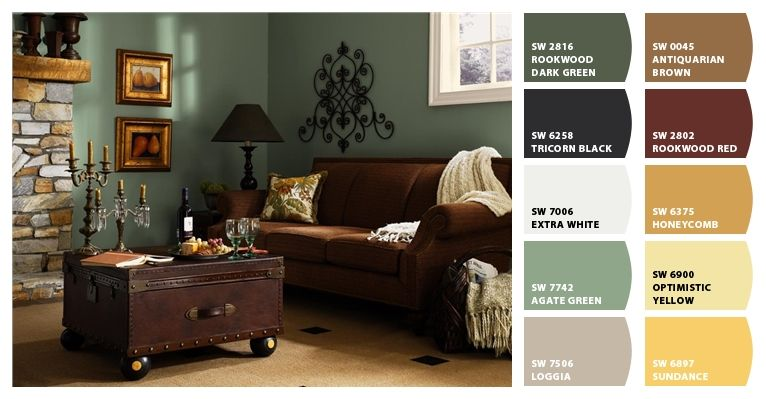 rustic green living room paint | ChipIt palette from Sherwin Williams Rustic Refined ...