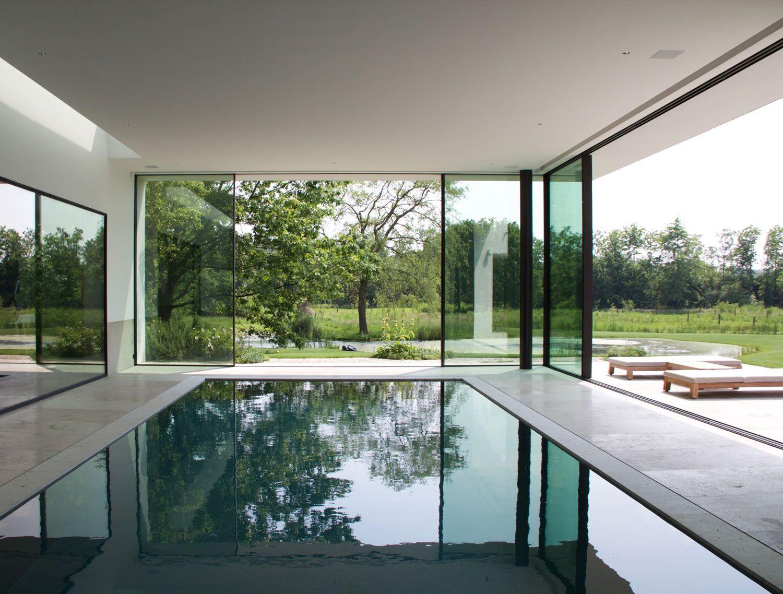 Indoor pool villa in ghent belgium by dirk heveraet for Pool design hours