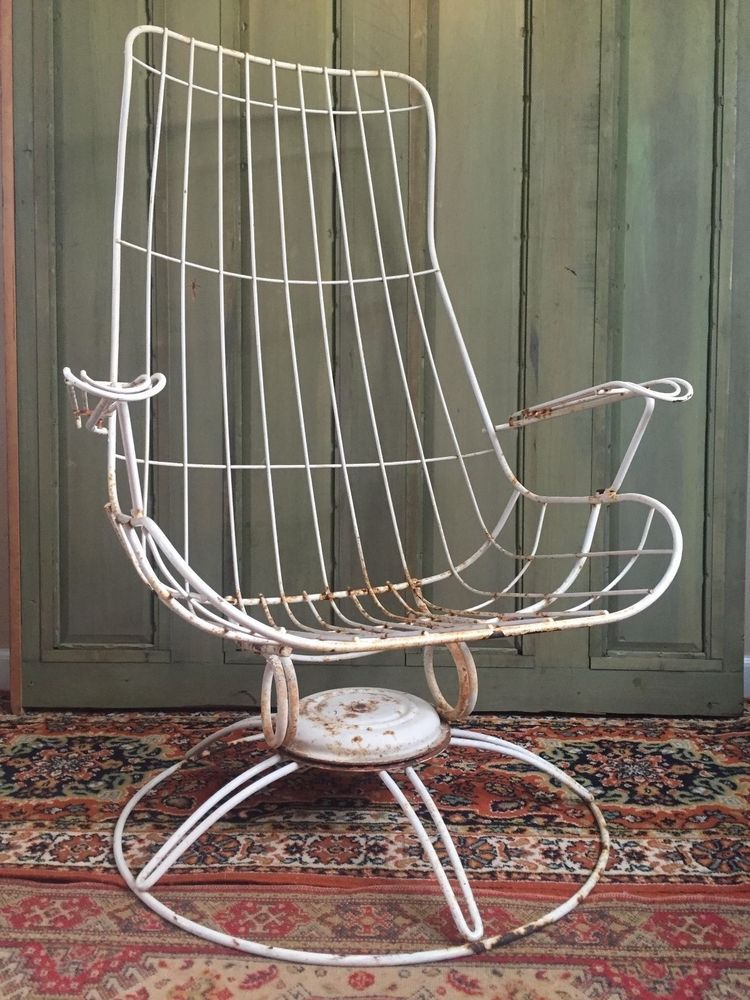 Vintage Homecrest Wire Retro Metal Swivel Chair Outdoor