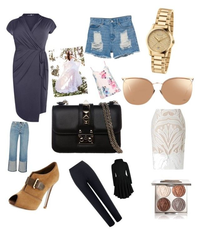 """""""Untitled #11"""" by crisbar ❤ liked on Polyvore featuring Boohoo, Chantecaille, Gucci, Linda Farrow, Valentino, René Caovilla, Monki, Lipsy, WearAll and rag & bone"""