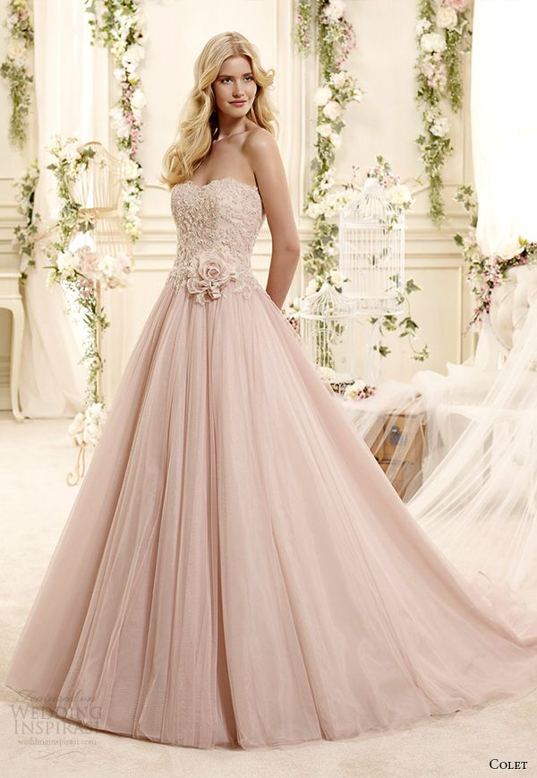 fb38fff6269 colet bridal 2015 style 13 coab15302pk sweetheart strapless blush color a line  wedding dress