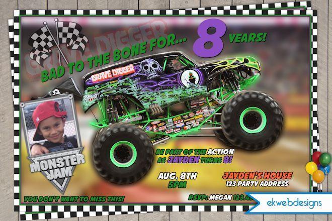 monster truck printable birthday