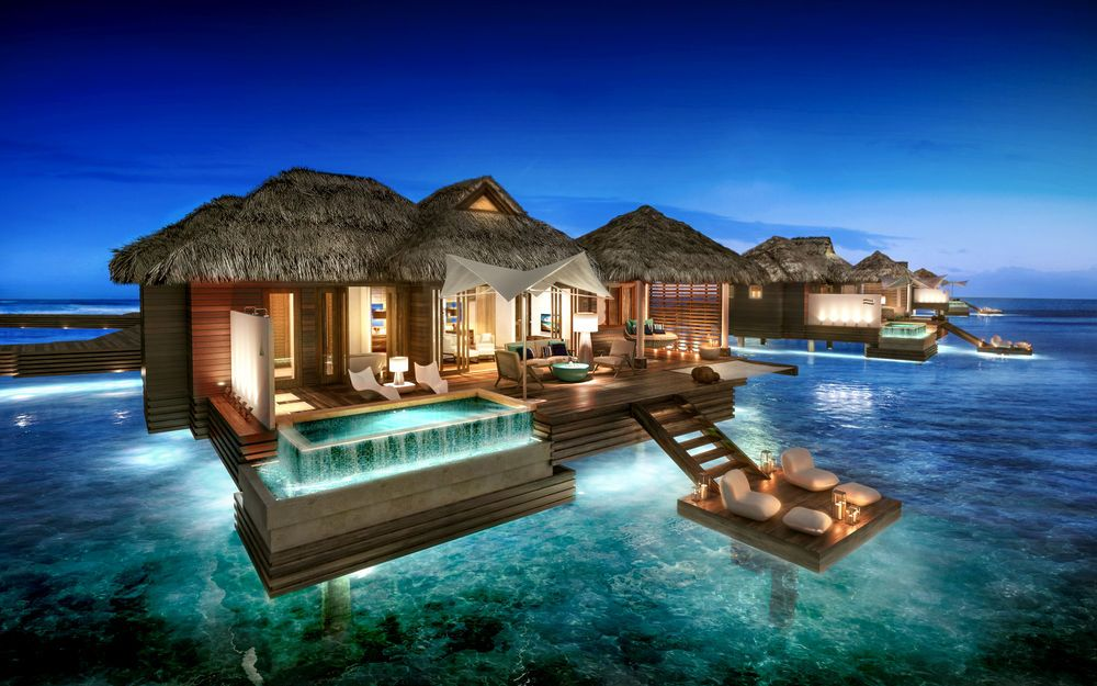 The caribbean 39 s first all inclusive overwater bungalows Overwater bungalows fiji