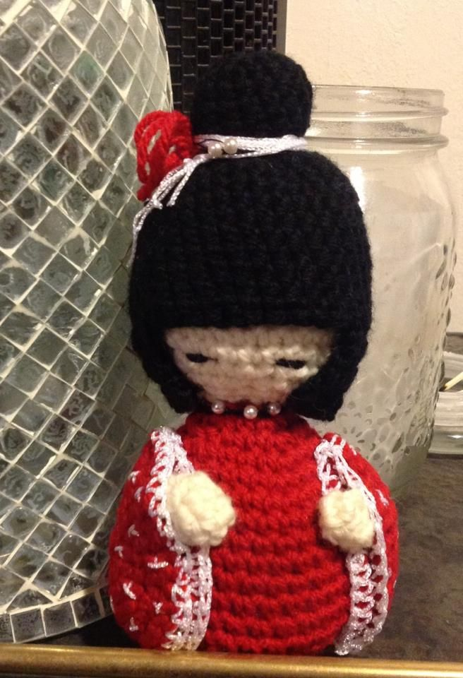 crochet Kokeshi Doll  http://www.facebook.com/pages/Woolly-Hookers