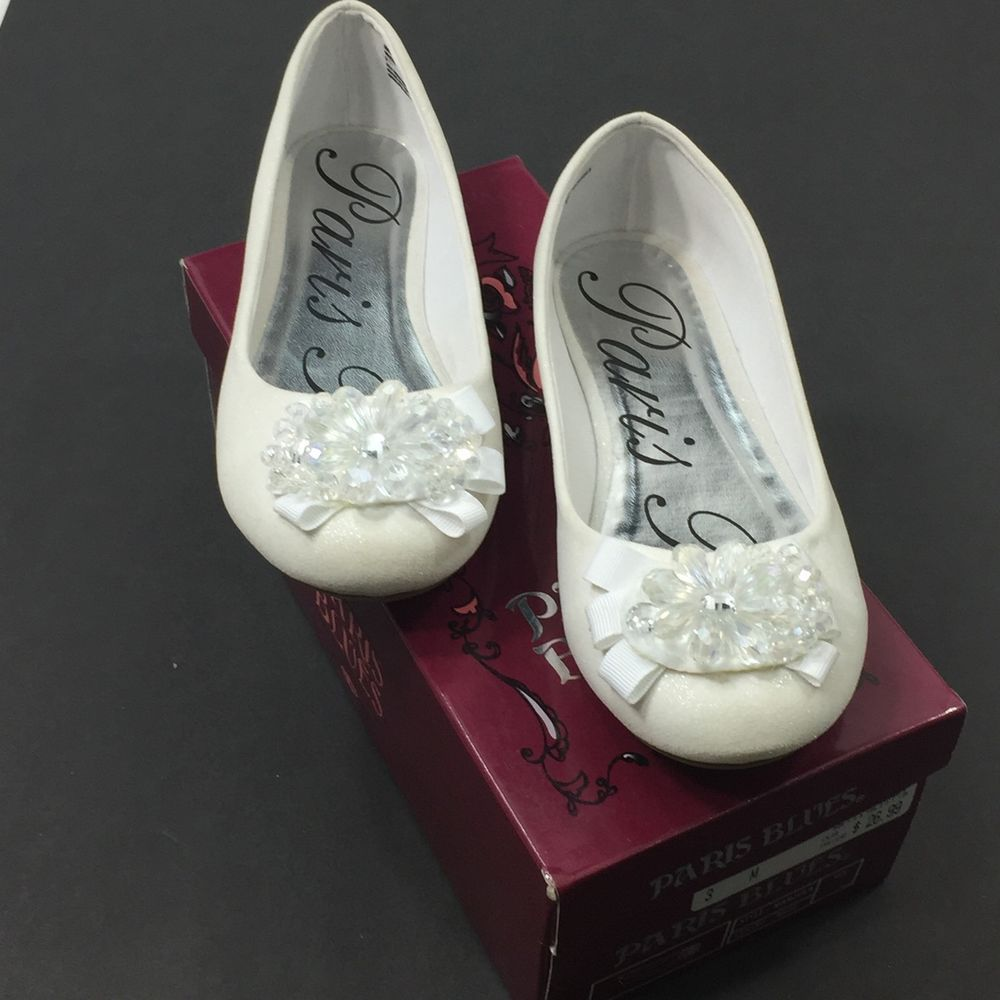 Girls wedding dress shoes  Girls Paris Blues Manjula White Shimmer Ballet Flats Wedding Church