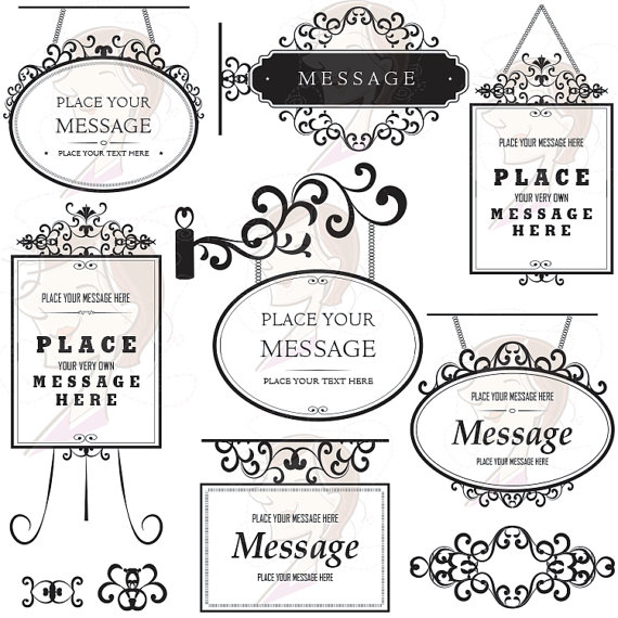 Swirls Signage Clip Art Sign Clipart Digital Frame Flourish DIY Invitation Scrapbooking Supplies Decorative Curling Leaves Ornament 10183