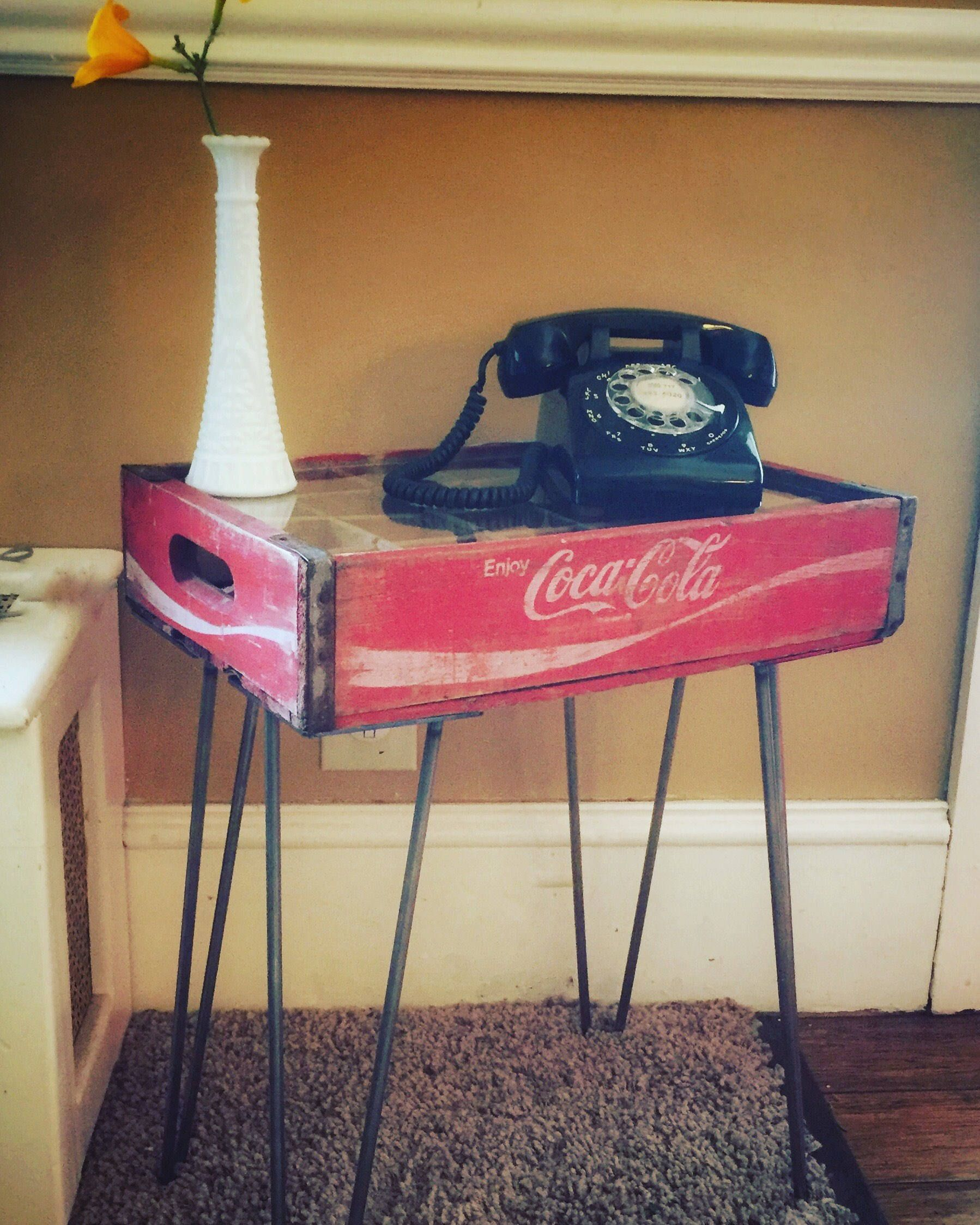 Upcycled Reclaimed Vintage Coca Cola Soda Crate End Table Sofa