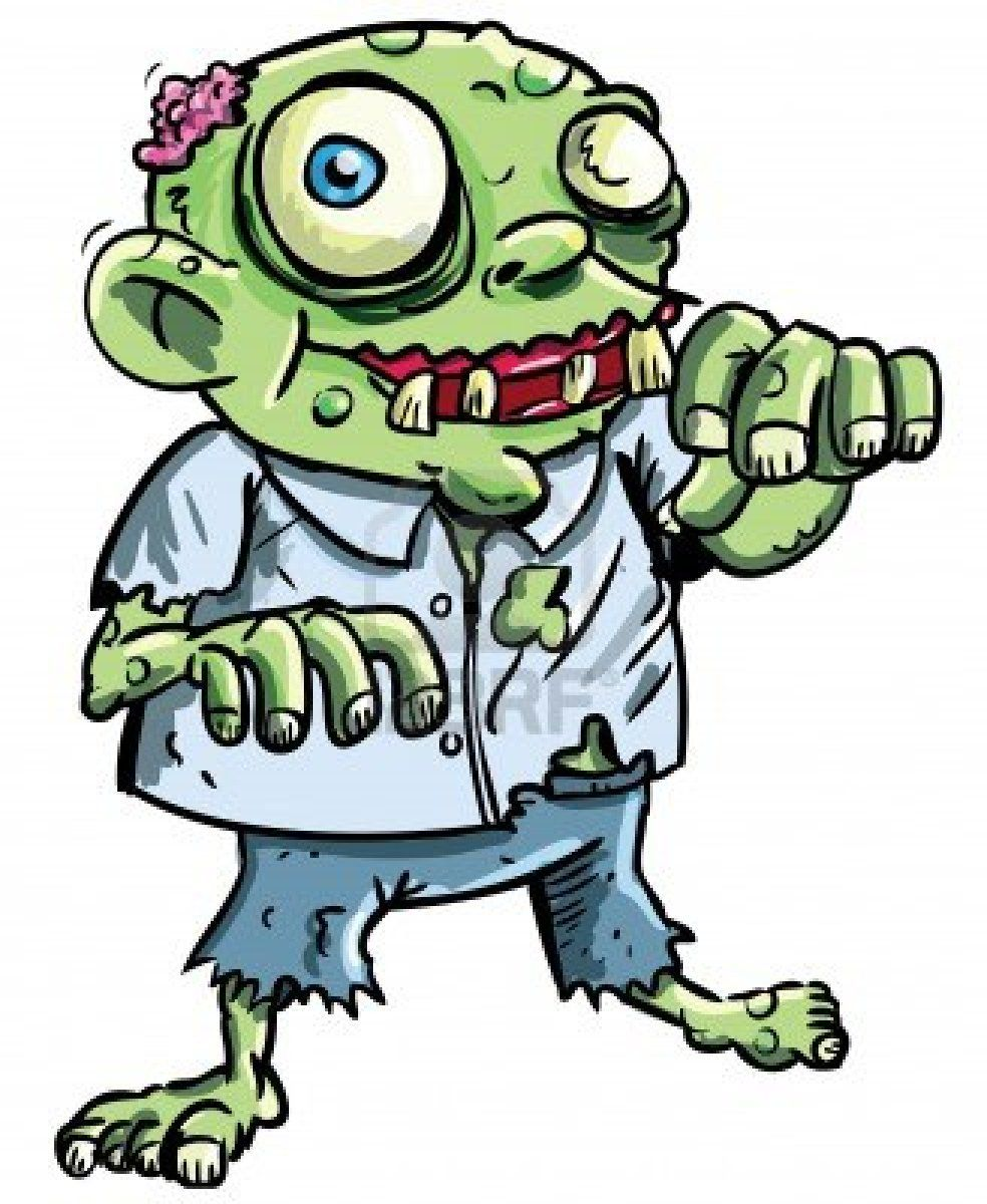 Cute Green Cartoon Zombie Isolated On White Zombie Cartoon Cute Zombie Cartoon