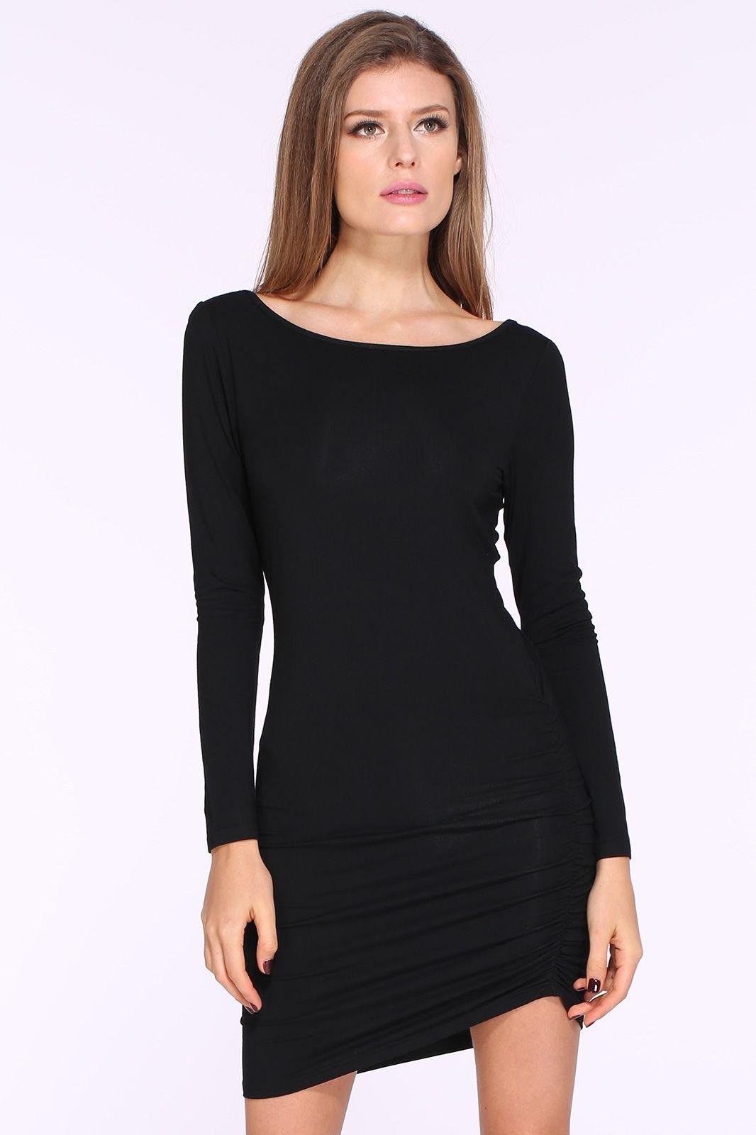 Black long sleeve ruched wrap side backless dress