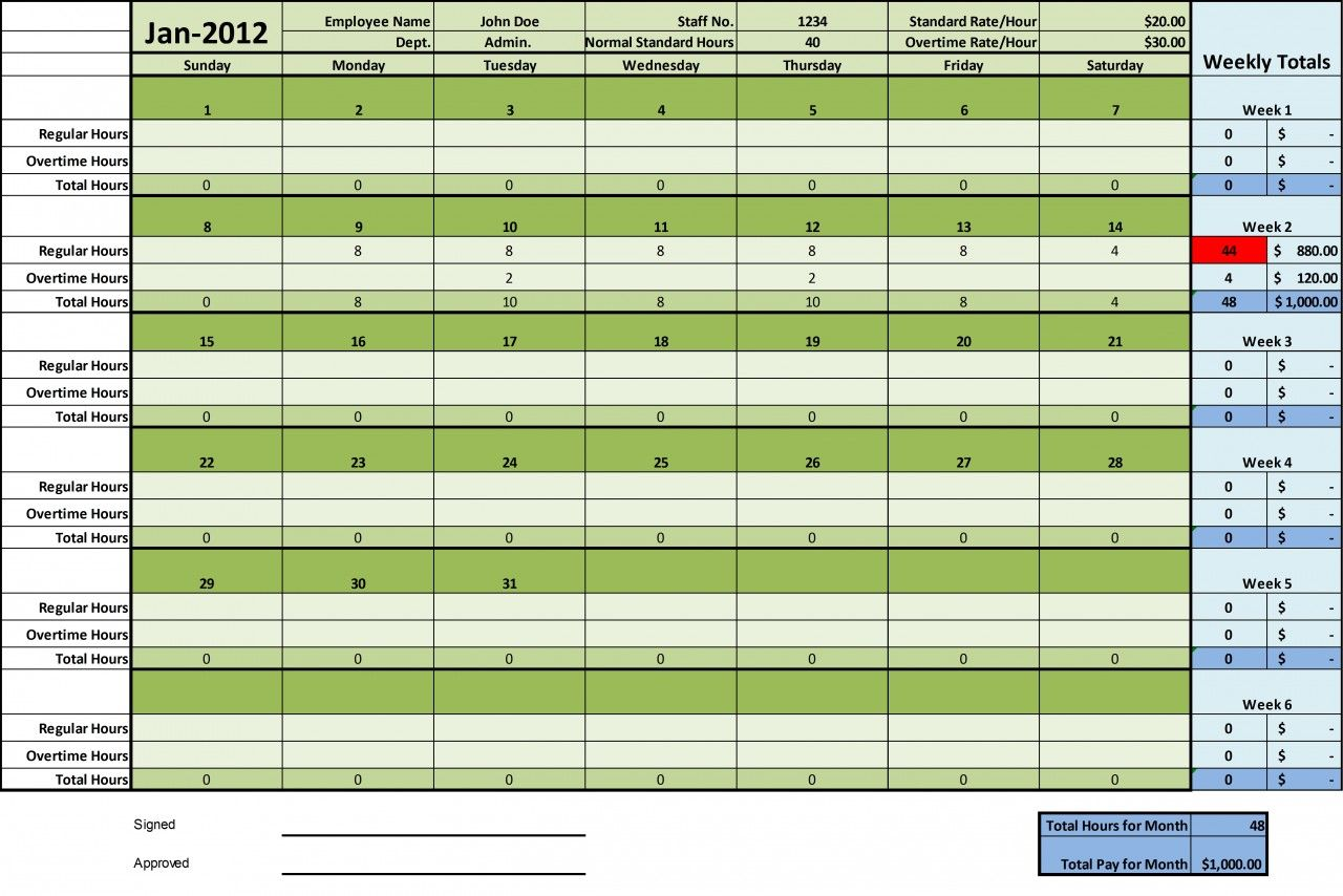 Timesheet Excel Templates 1 Week 2 Weeks And Monthly