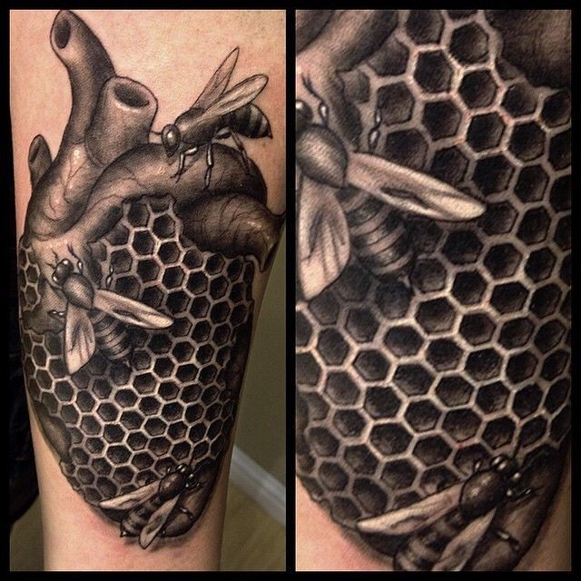 Discover The Geometrical Buzz Behind Top 80 Best Honeycomb Tattoo Designs For Men Explore Cool Bee Hive And Hexagon Shaped Ink Styles