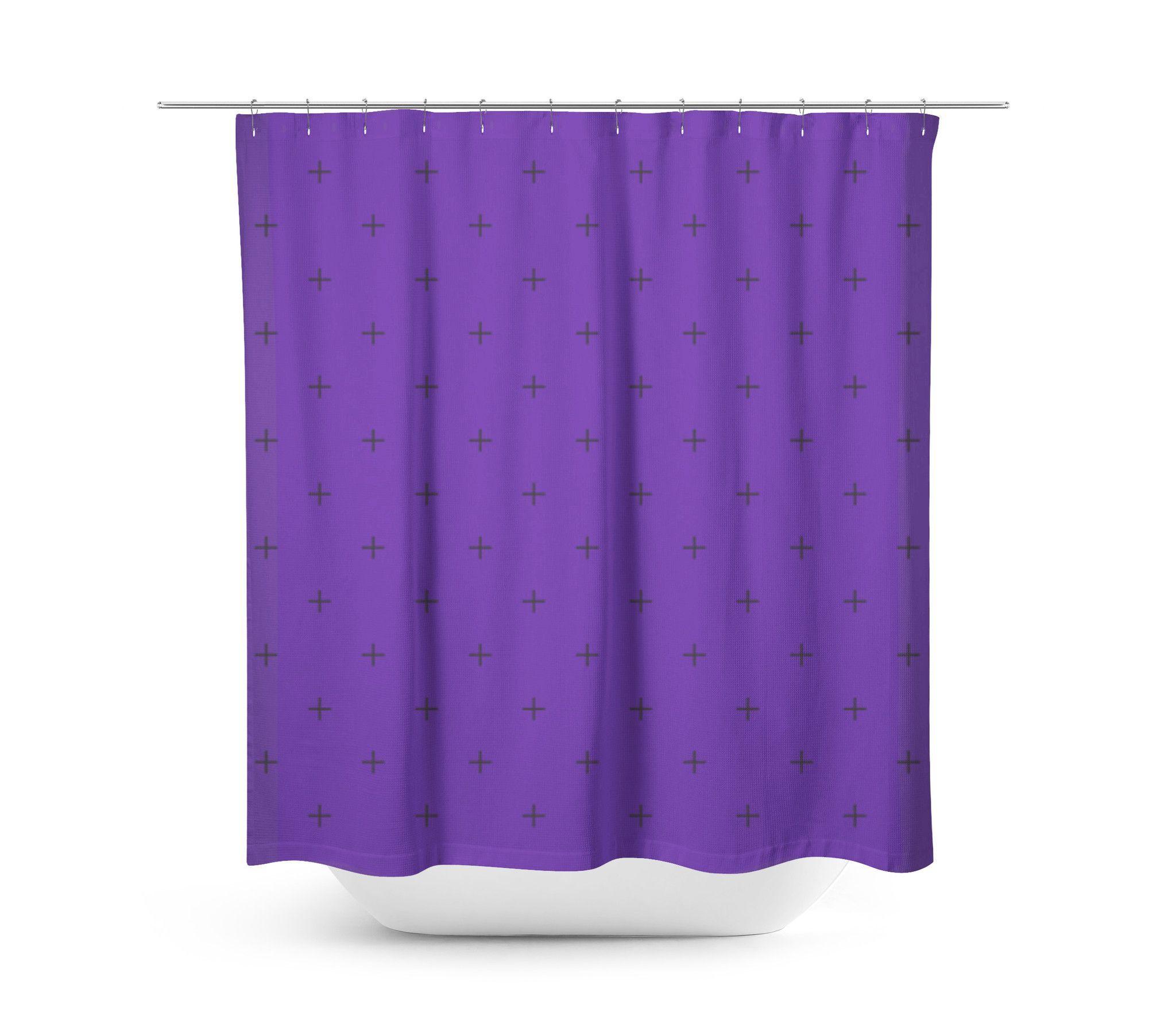 Swiss Cross Dark Purple Shower Curtain Navy Blue Shower Curtain