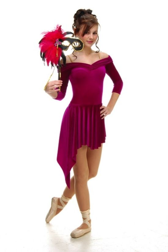 43986f226c90 Sienna leotard with 3 4 sleeves and Shelly skirt attached Design ...