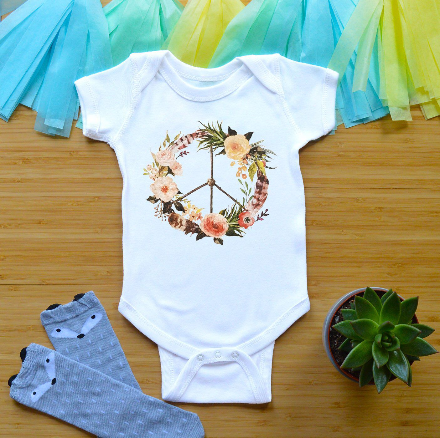 8a777b072 Peace Sign Onesie Newborn