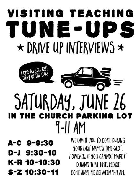 Visiting Teaching Tune-Ups Relief society, Digital and Churches