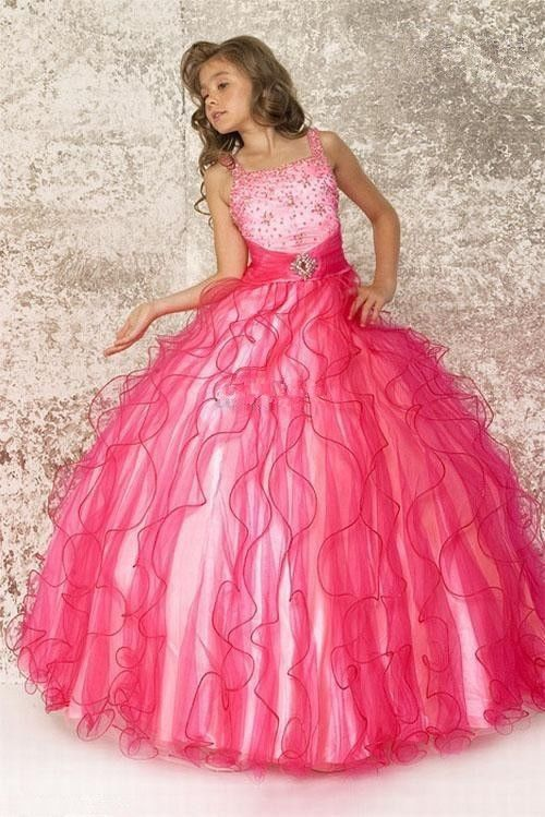 Flower Girls Dresses Kids Pageant Hot Pink Party Wedding Princess Ball Gown d3553a88efb8