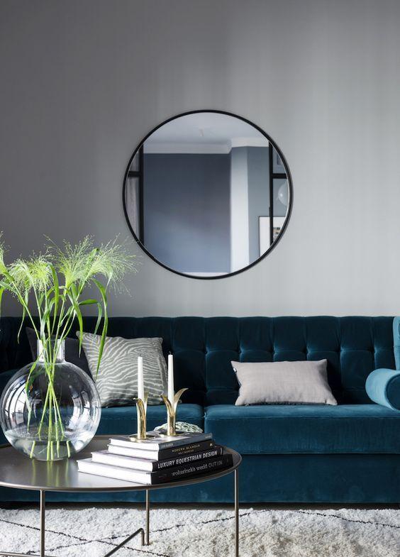Modern Scandinavian Living Room With A Blue Velvet Couch Velvet Sofa Living Room Living Room Sets Furniture Living Room Scandinavian