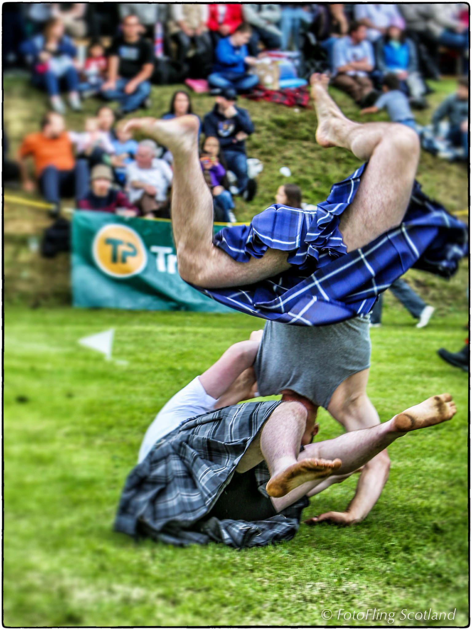 Scottish Backhold Wrestling Men In Kilts Highland Games