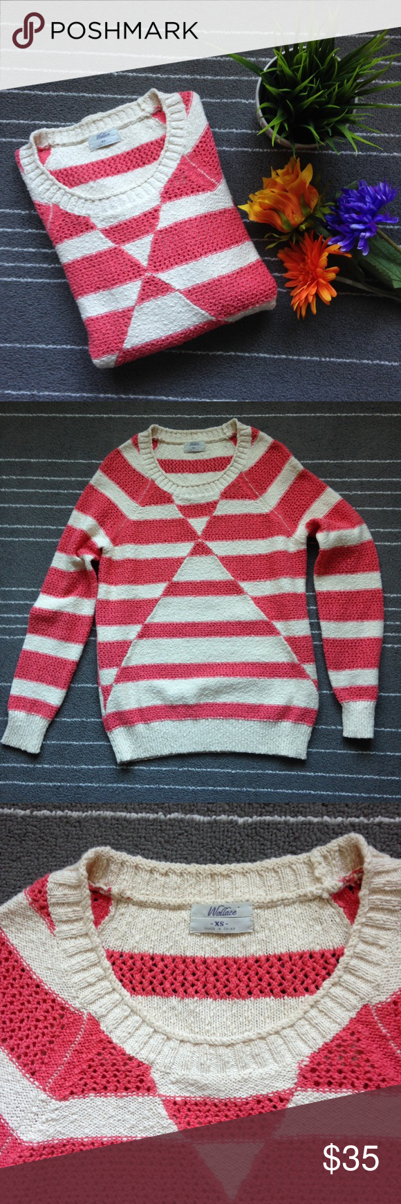 """Madewell pink and cream striped sweater Excellent preloved condition. No flaws to note. Wallace brand. 100% cotton. Chest measures 17.5"""" and length is 24"""". Size xs. Can probably fit a small. Madewell Sweaters Crew & Scoop Necks"""