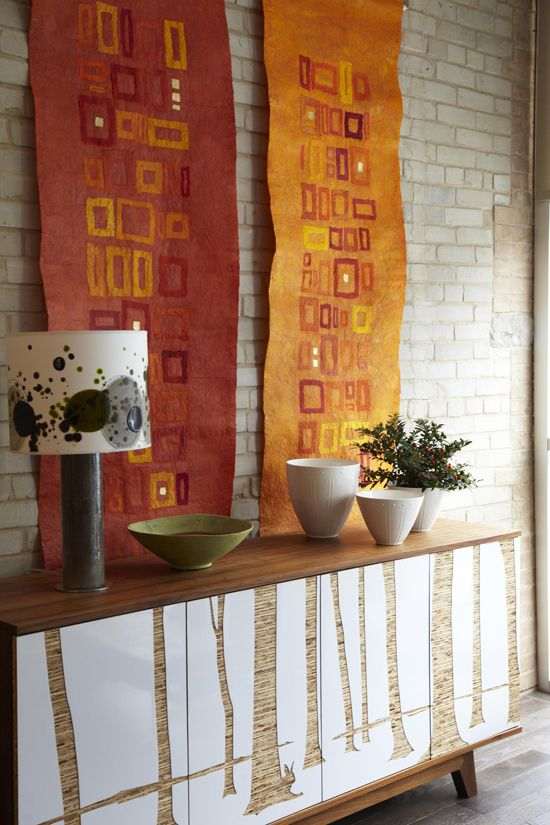 autumnal color felt fabric on the wall Felt wall hanging