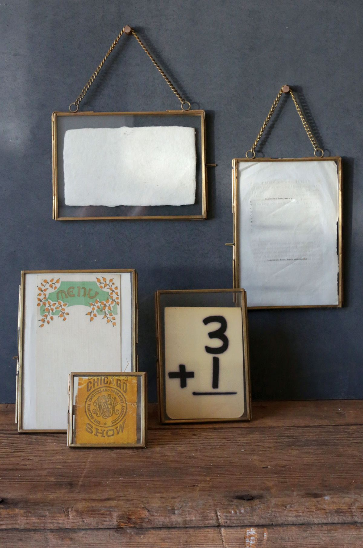 2 Hanging Double Glass Picture Frame 5x7in Home Decor
