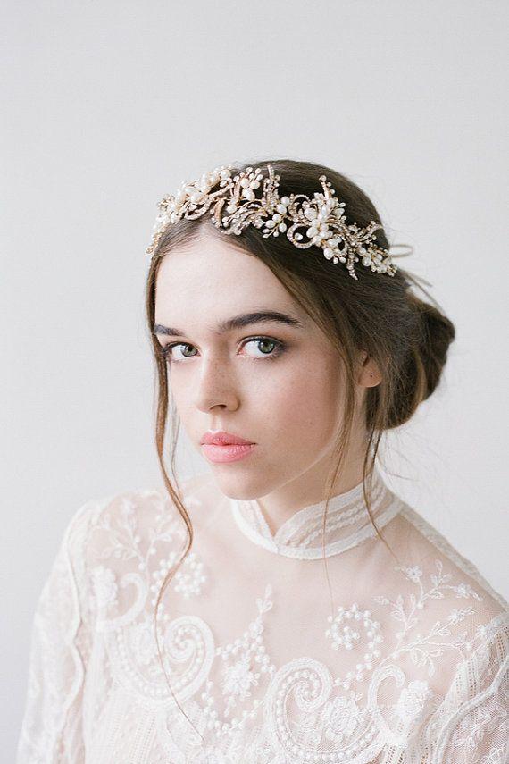 Macy Gold Bridal Hairpiece Wedding Accessories by BrideLaBoheme