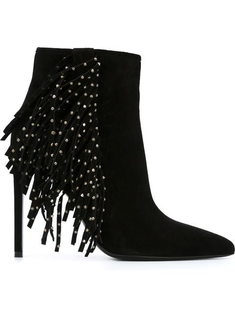 3d9496b6e8a Shop Saint Laurent Fringe Ankle Boots in Capretto from the world's best  independent boutiques at farfetch.com. Shop 400 boutiques at one address.