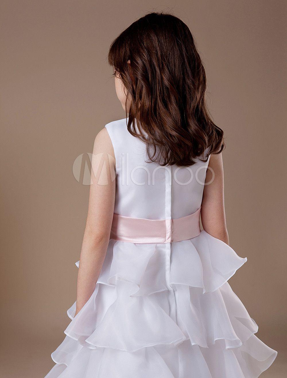 d4136f95dac White Flower Girl Dress Boho Tiered Sleeveless Sash Bow Satin Kids Maxi  Dresses  Dress