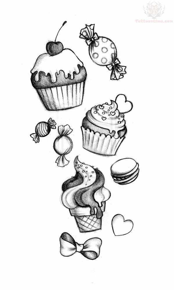 I Want Some Of This Added To My Newschooltattoo Sleeve Candytattoo Girlytattoo Ice Cream Tattoo Candy Tattoo Cute Drawings