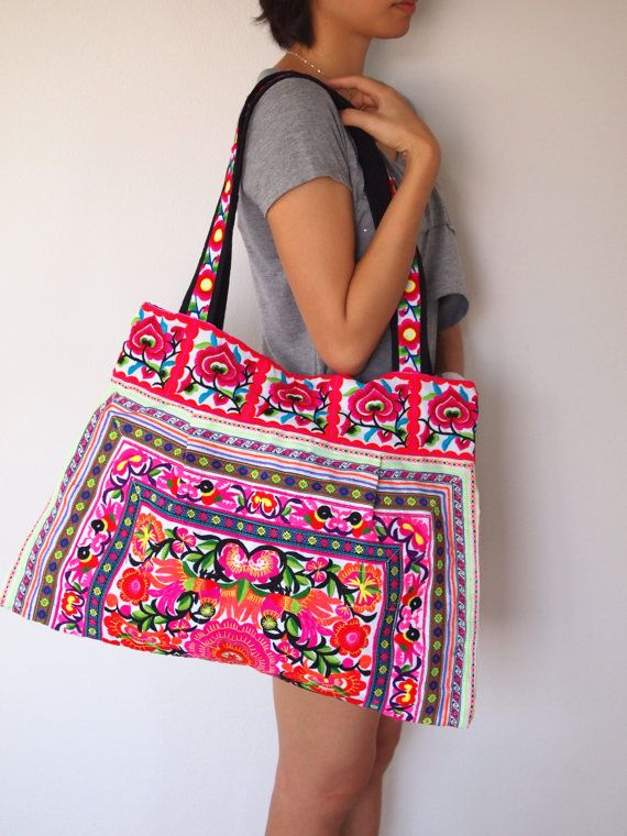 Ethnic Hobo Boho Asian Embroidered Thai Tote by LannaThaiCreations