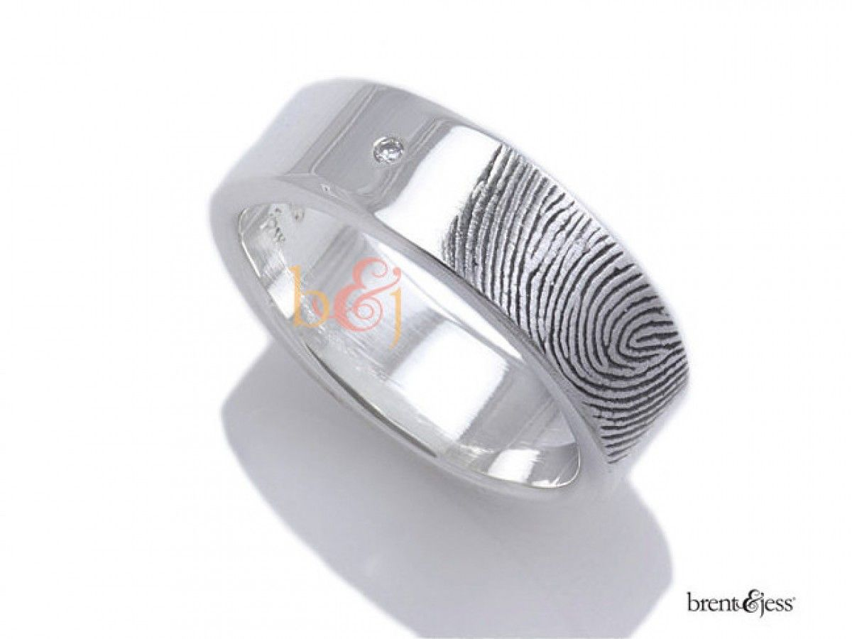 65c14029f61 Two Diamond Fingerprint W... Brent   Jess Fingerprint Wedding Rings Custom  Handmade Fingerprint Jewelry