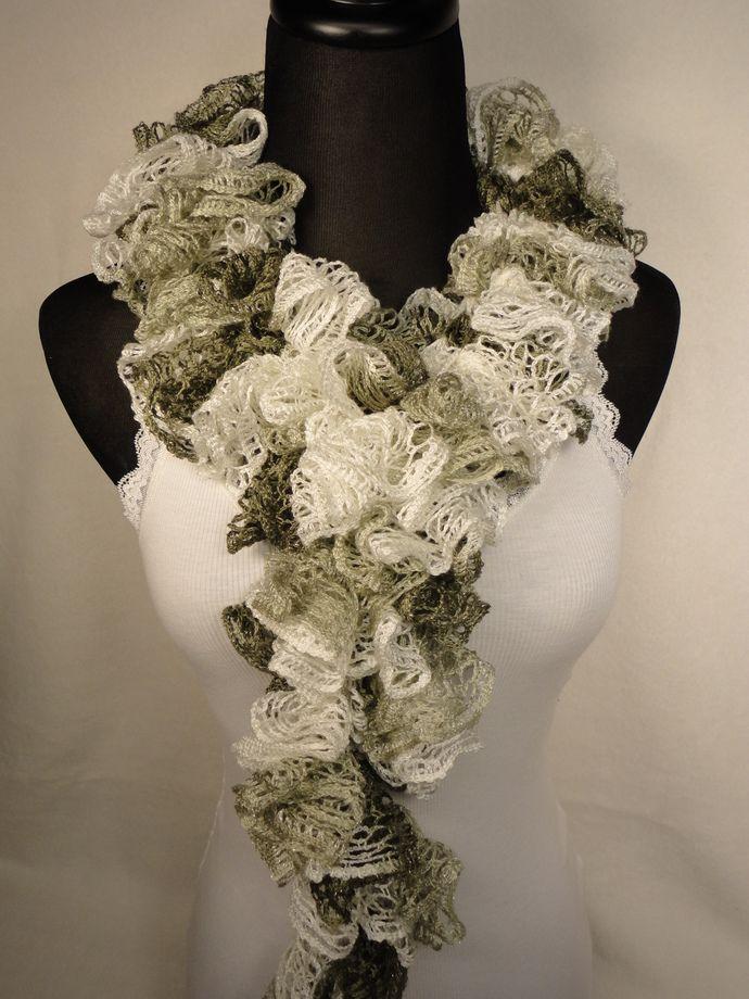 Beige/Brown/Gray Ruffle Scarf - Ladies Ruffle Scarf - Ruffle Scarves - Crocheted Scarf - Ruffled Scarf by HappyNanaba, $9.00 USD