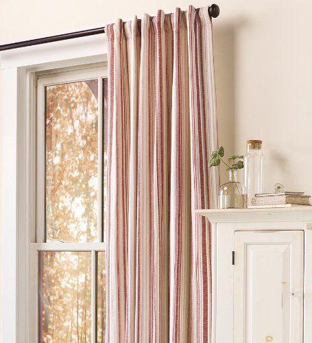 96 Ticking Stripe Curtain Panel In Red Plow Hearth Http Www Amazon Com Dp B00ft1ocvi Ref Cm Sw R Pi Dp 6q Ticking Stripe Curtains Lined Curtains Curtains