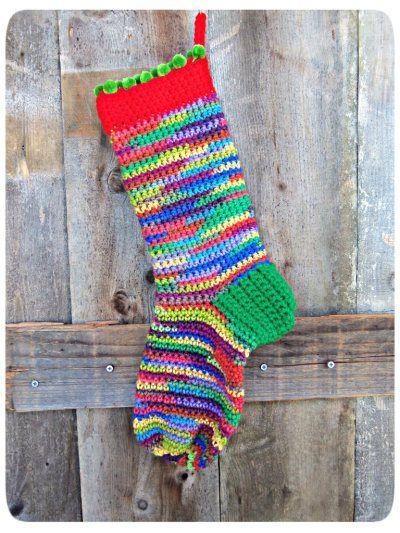 Scrappy Holidays Stocking Free Crochet Pattern Free Crochet