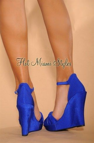 6c935777c6d Royal-Blue Knotted Front Ankle Strap Wedge Sandals