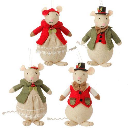 Plush mice Christmas ornaments in Victorian clothes, RAZ Imports 3519181 - Plush Mice Christmas Ornaments In Victorian Clothes, RAZ Imports