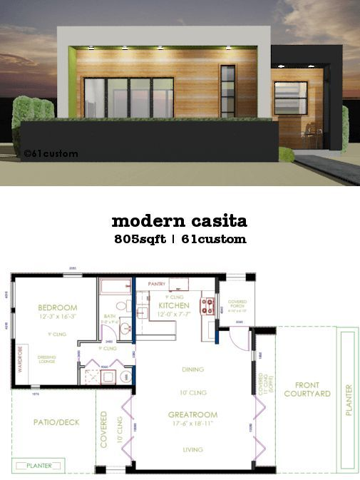 This 805sqft 1 Bedroom 1 Bath Modern House Plan Works Great For Downsizing As A Vacat Small Modern House Plans Guest House Plans Minecraft Small Modern House
