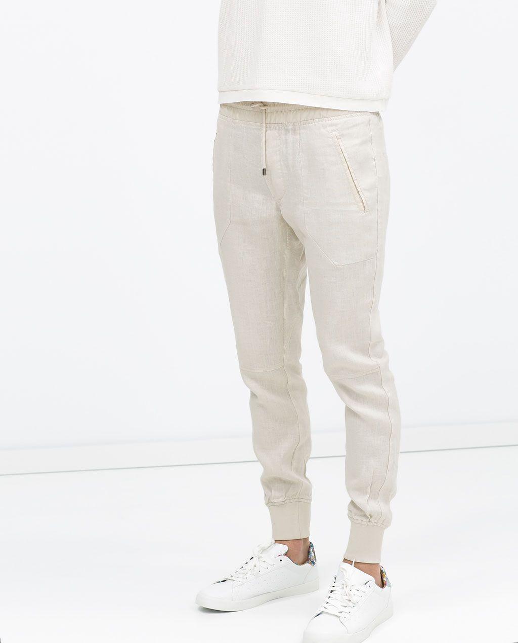 pantalon lin blanc homme zara