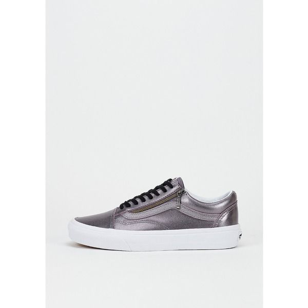VANS Skateschuh Old Skool Zip Metallic Leather thistle purple/true white