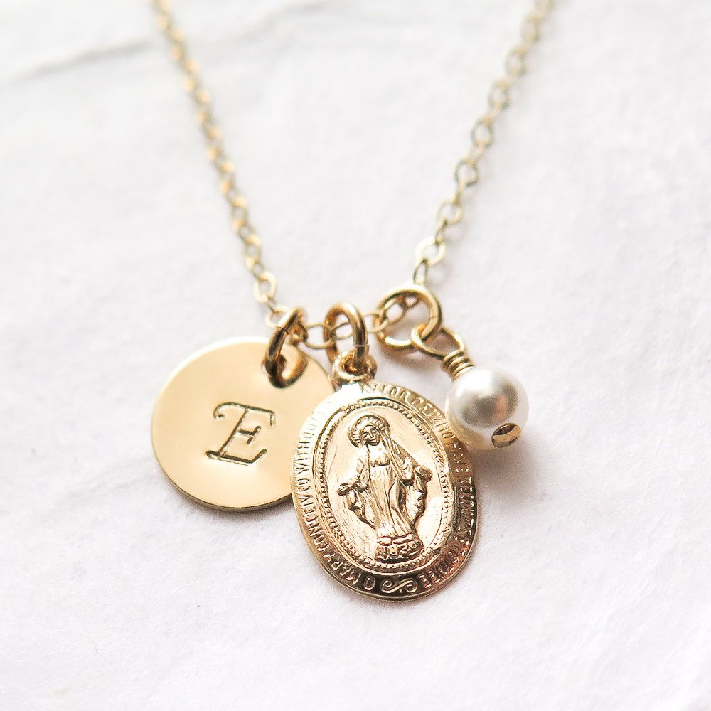 Miraculous medal first communion gift virgin mary necklace