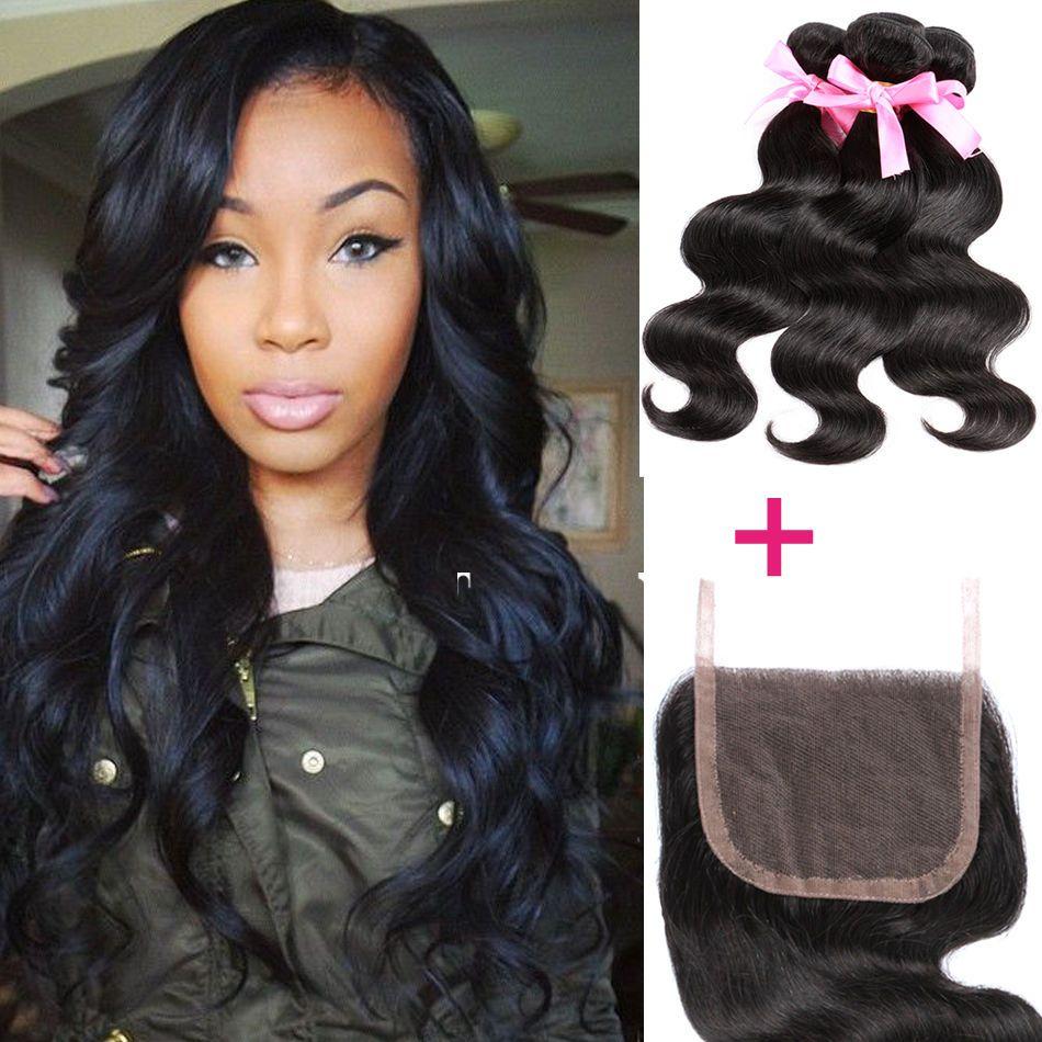 Peruvian Body Wave 4 4 1pc Lace Closure With 3 Bundles Human Virgin Hair Weave Hair Waves Hair Styles Body Wave Hair