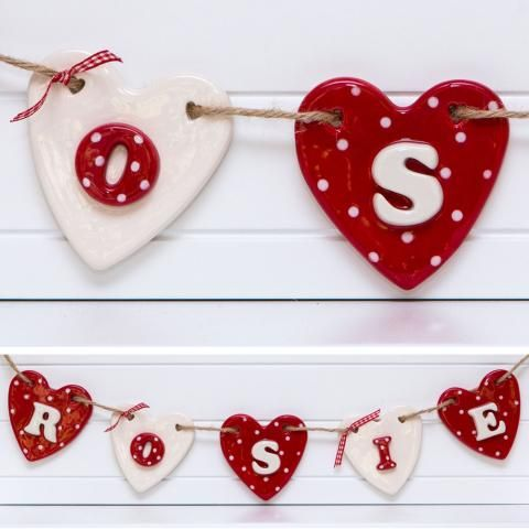 Stunning Red Polka Ceramic Name On Bunting For A Childs Room