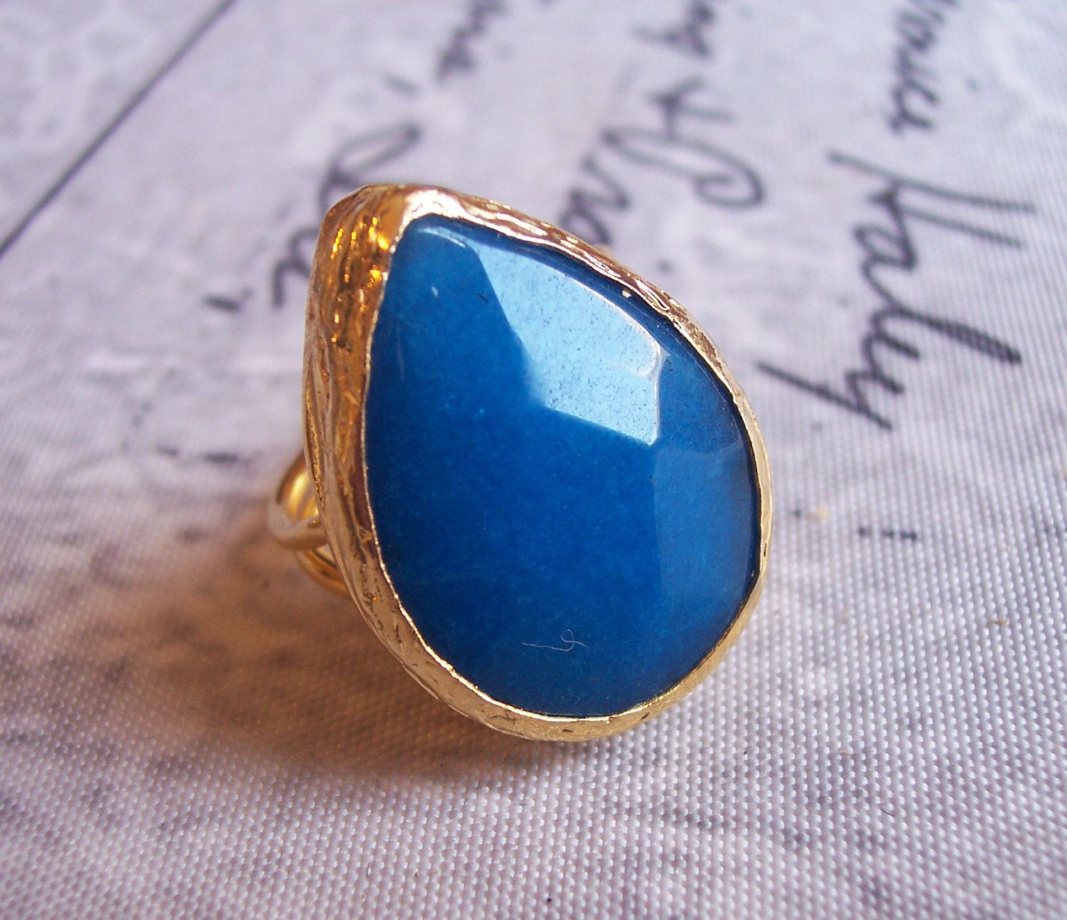 Handmade gold plated ring with blue tear drop agate by GardenOfLinda on Etsy