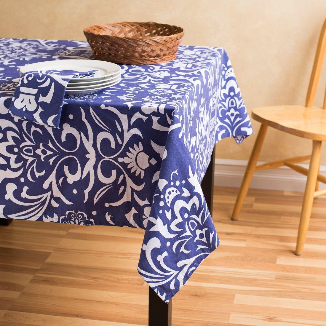 Navy Blue White Rectangular Cotton Vintage Royalty Tablecloth