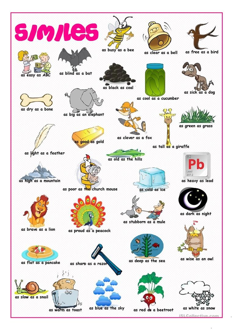 Similes Picture Dictionary Worksheet Free Esl Printable