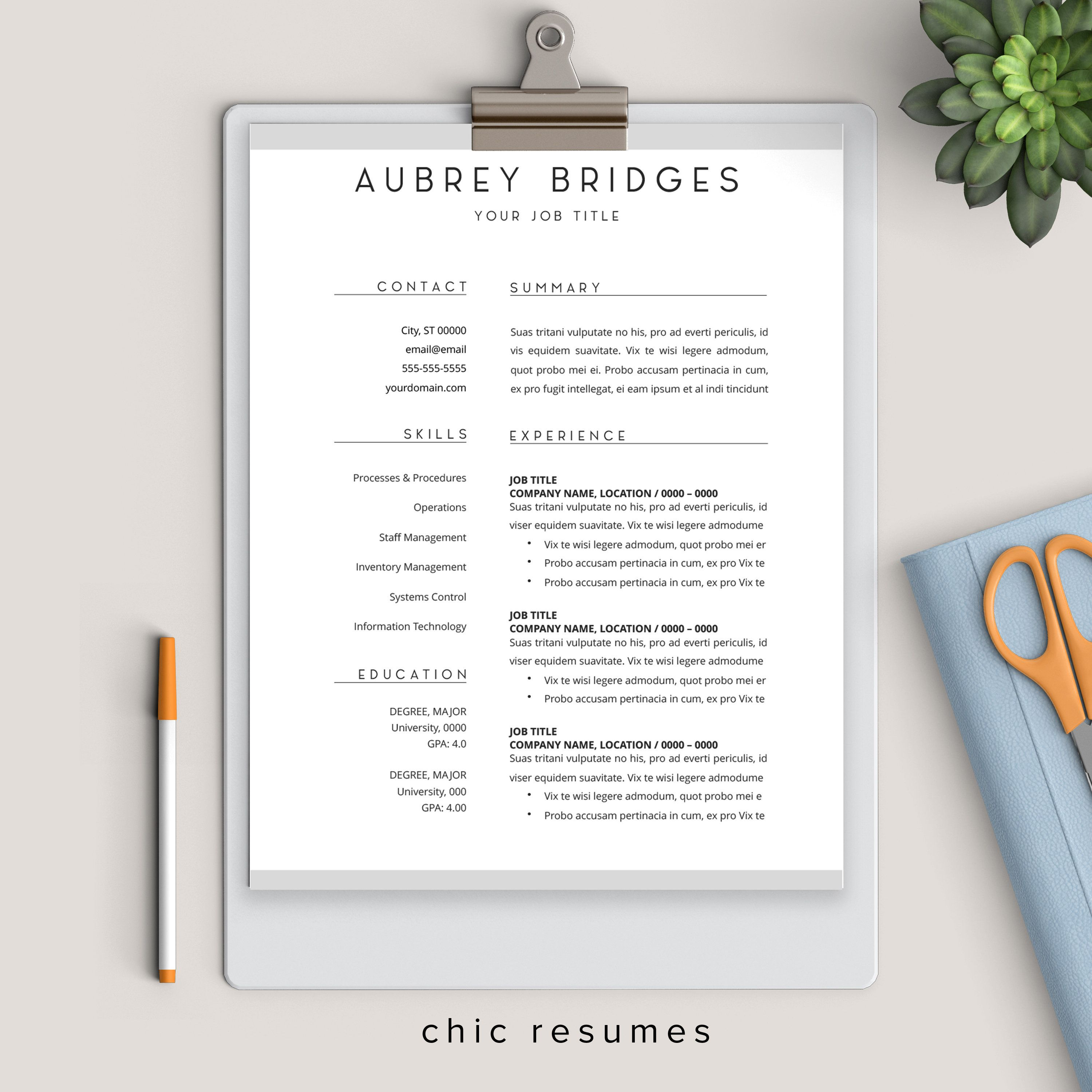 Minimalist 1page resume with gray accents executive