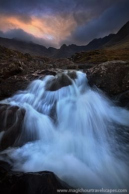Scotland, Isle, Skye, mountains, Cuillins, cascades, fairy, pools