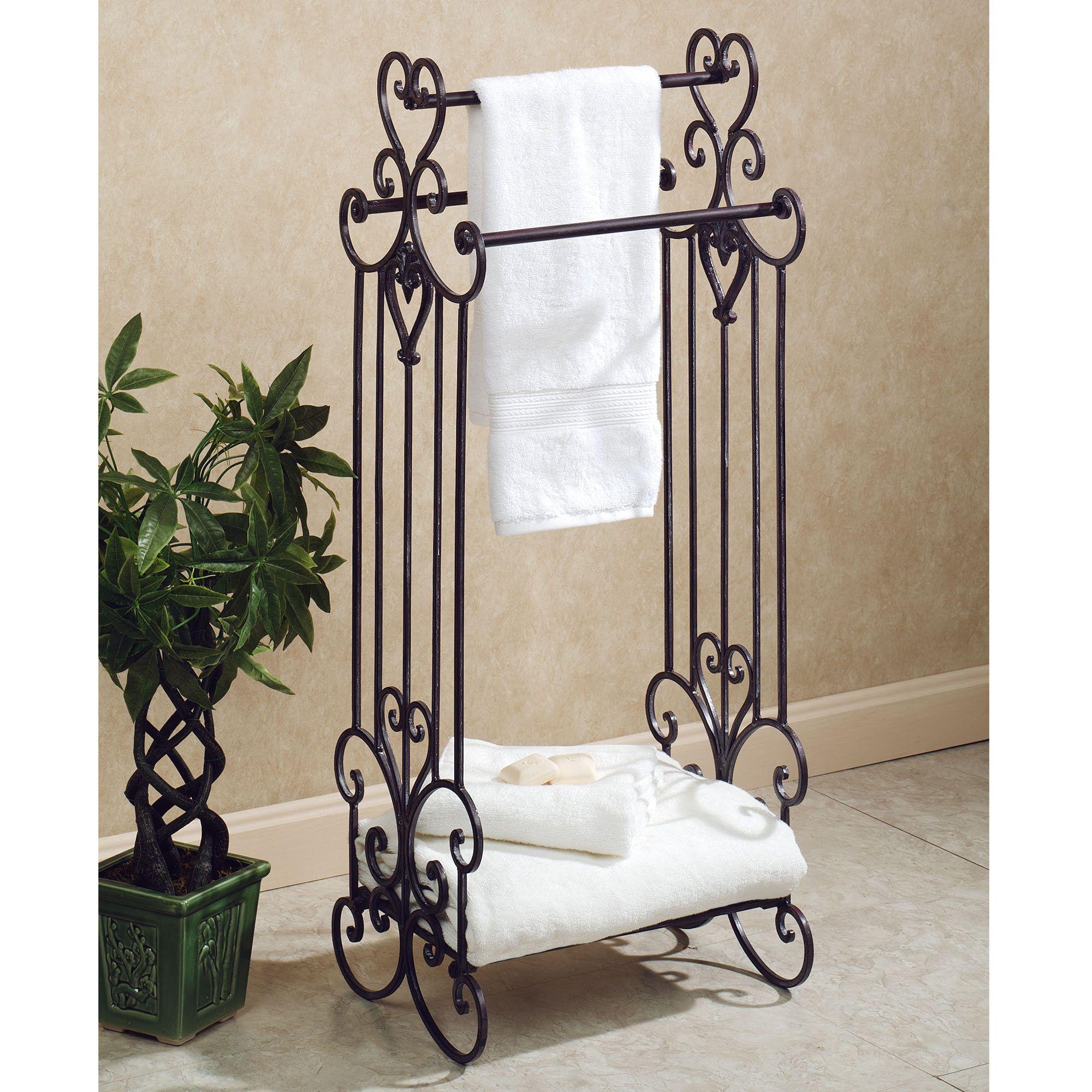 Aldabella Tuscan Slate Bath Towel Rack Stand Free Standing Towel Rack Towel Holder Bathroom Bath Towel Racks